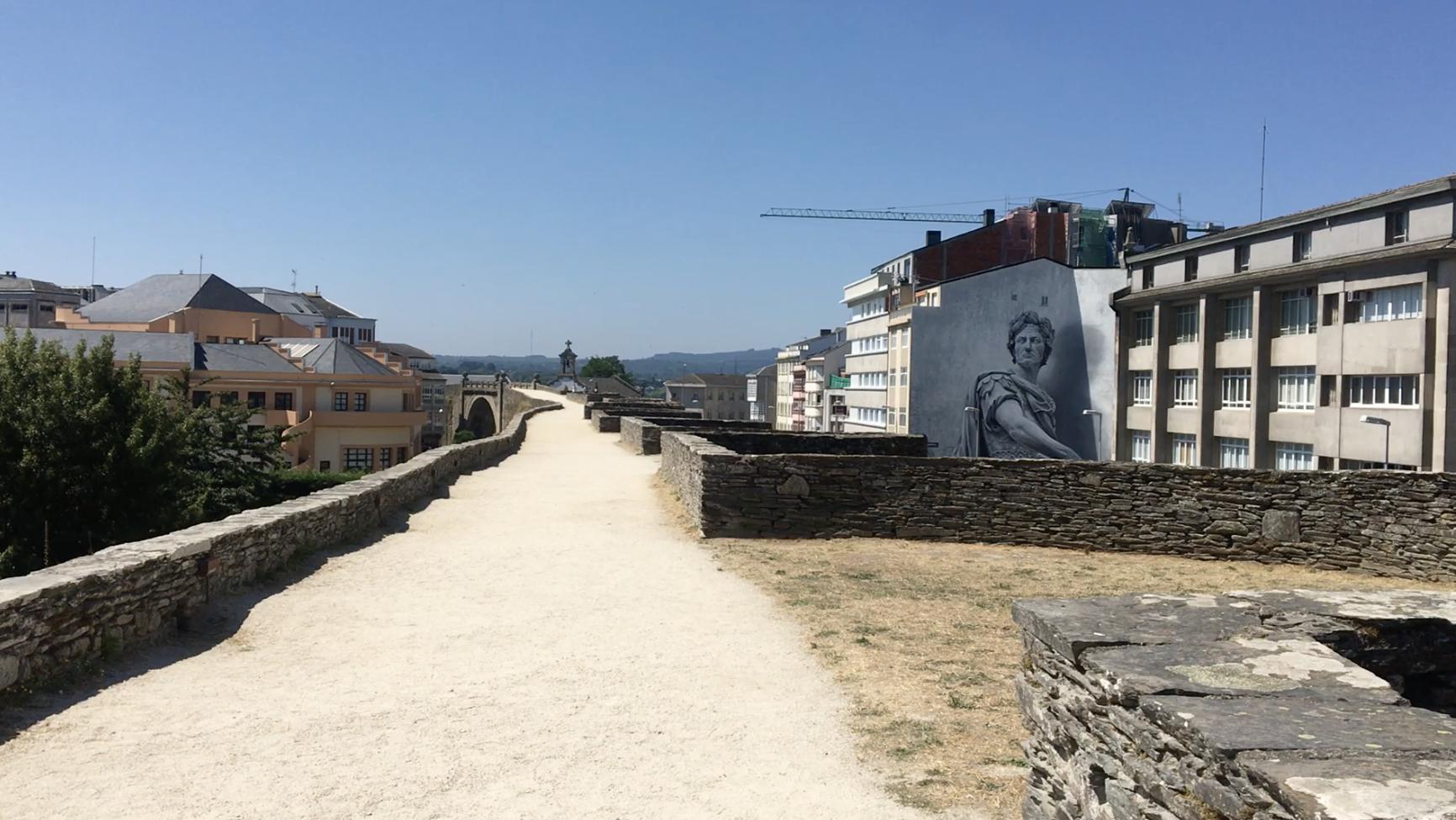 Up on the Roman walls, Lugo, Camino Primitivo